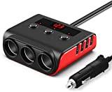 100W/12V/24V Prise Allume-Cigare de Voiture 3 Ports + 4 Ports de Charge USB, Adaptateur Chargeur avec Voltmètre LED et Interrupteur