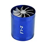 Qiilu Admission d'Air Turbine À Double Ventilateur Turbine En Aluminium Voiture Super Chargeur Économie De Carburant Économie De Carburant Turbo(Bleu)