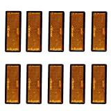 SANON Réflecteur à Dos Adhésif Rectangulaire Orange 10Pcs pour Camion Remorque